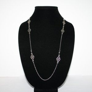Long silver and crystal necklace 44""